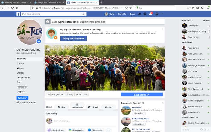 Den Store Vandring Facebook side